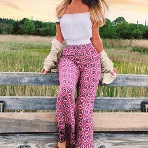 {Forever 21} Abstract Floral Polazzo Pants